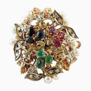 9K Roségold und Silber Ring mit Diamanten, Rubinen, Smaragden, blauen Saphiren & Perlen