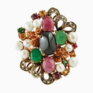 Diamonds, Emeralds, Rubies, Sapphires, Pearls, 9 Karat Rose Gold and Silver Ring