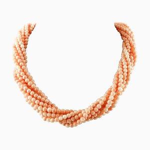 Collier en Perles de Corail Rose Entrelacées avec Fermeture en Or Jaune 18K