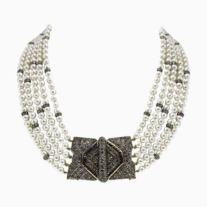 Collier Artisanal à Plusieurs Rangs en Perles, Saphirs, Diamants, Argent et Or