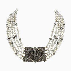 Handgefertigte Multi-Strang Perle, Saphir, Diamant, Silber & Gold Halskette