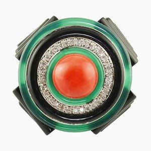 Ring mit Diamanten, Onyx, Grünem Achat, Koralle & Weißgold
