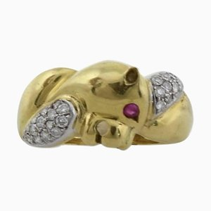 Animal Head Ring with Diamonds, Rubies & 18K Yellow and White Gold