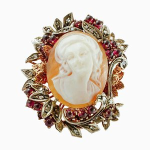 Cameo Cocktail Ring with Diamonds, Garnets, 9 Karat Rose Gold and Silver