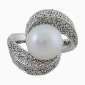 Pearl, Diamond and White Gold Ring