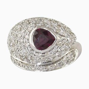 Ruby, Diamond & White Gold Snake Ring