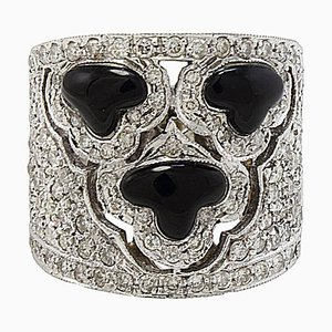 White Gold, Diamond and Onyx Band Ring