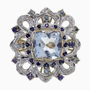 Gold, Diamond, Sapphire & Aquamarine Cocktail Ring