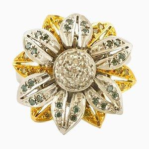 18 Karat White & Yellow Gold and Fancy Diamond Daisy Ring