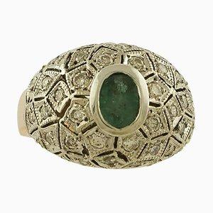 Weißer Diamant, Smaragd, Roségold und Silber Ring