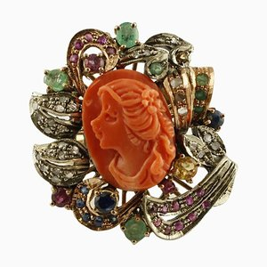 Rose Gold & Silver Ring with Diamonds, Rubies, Emeralds, Sapphires & Red Coral