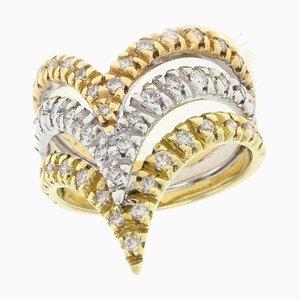 Rose, White & Yellow Gold and Diamond Ring