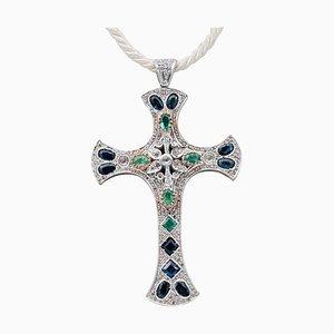 Pendentif Croix en Saphir Bleu, Émeraude, Diamant, Or Jaune 9 Carats et Argent