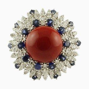 Diamant, Blauer Saphir, Rote Koralle & 14 Karat Weißgold Ring