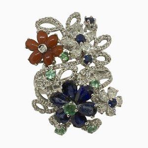 Weißer Diamant, Blauer Saphir, Smaragd, Koralle & Weißgold Fashion Ring