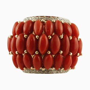 0,35 Ct Diamanten, 3,40 G Tropfen aus roten Korallen, Rosen- und Weißgold-Bandring