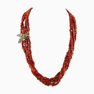 Halskette mit Diamanten, Gelbem Topas, Granat, Roségold, Roten Korallen & Silber Fliegenverschluss