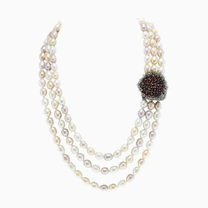 Pearl Necklace with Gold and Silver Clasp