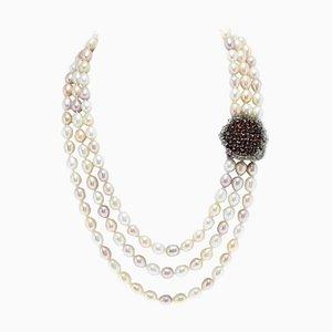 Perlenkette mit Gold und Silber Verschluss