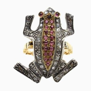 Frog Ring in Gold, Silver, Diamonds and Garnets