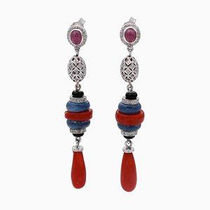 Orecchini pendenti in oro bianco 14 carati con corallo, diamanti, cianite, pietre e rubini, set di 2