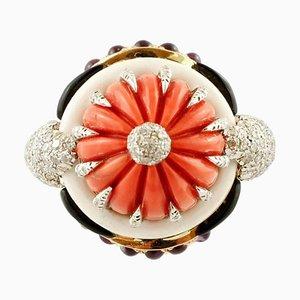 Diamond, Amethyst, Onyx, White Agate, Coral & 14 Karat Rose Gold Dome Ring