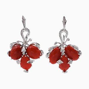 Korallen-, Diamanten-, 14 Karat Weißgold Ohrringe mit Hebelverschluss, 2er Set