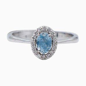 18 Karat White Gold Ring with Aquamarine & Diamonds