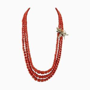 Diamant, Saphir & Rote Koralle Halskette mit Roségold & Silber Schmetterling Verschluss