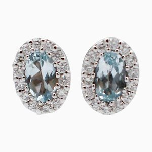 18 Karat White Gold Stud Earrings with Aquamarine & Diamonds, Set of 2