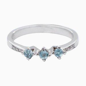 Ring aus Aquamarin, Diamant und 18 Karat Weißgold