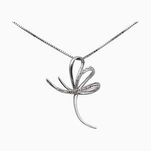 Diamond & 18 Karat White Gold Stylized Cross Pendant Necklace