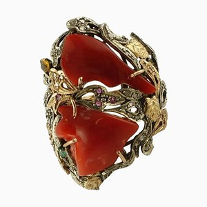 Korallen, Diamant, Rubin, Smaragd, Gold und Silber Cocktail Ring