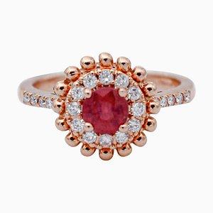 Rubin, Diamant & 18 Karat Roségold Ring
