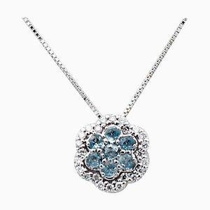 Diamonds, Aquamarine, 18 Karat White Gold Flower Pendant Necklace