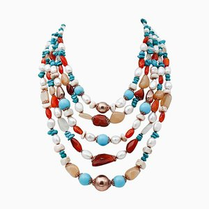 White Stone, Turquoise, Pearl, Carnelian, Moonstone & Silver Multi-Strand Necklace