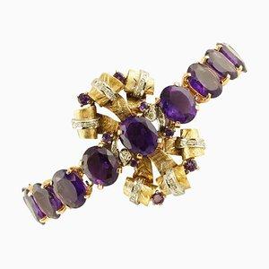 Bracciale in ametista, diamanti, oro bianco e rosa a 9 carati