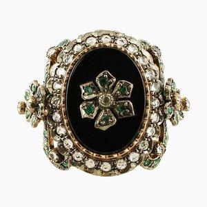 Onyx, Emeralds, White Topazes, 9 Karat Rose Gold and Silver Ring