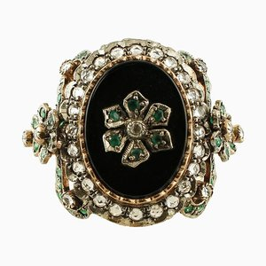 Onyx, Emerald, White Topaz, 9 Karat Rose Gold and Silver Ring