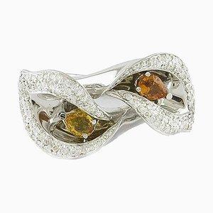 Yellow Sapphire, Diamond & White Gold Flower Ring