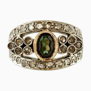 Smaragd, Diamant, 14 Karat Roségold und Silber Ring