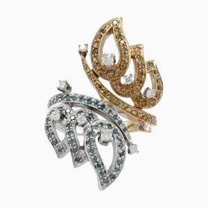 Diamond Butterfly Shape 18 Karat Gold Ring
