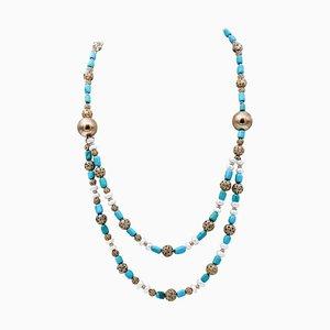 Halskette aus Hartstein, 9 Karat Gold und Silber