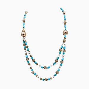 Hard Stone, 9 Karat Gold and Silver Necklace