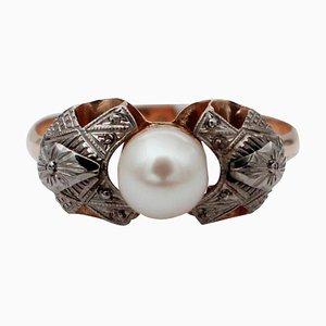 Perle & 14 Karat Weiß- und Roségold Ring