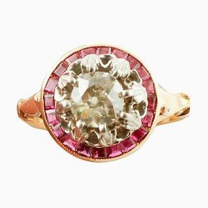 Diamant, Rubin, 14 Karat Gold und Silber Cluster-Ring