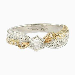 Rose und Weißgold & Diamant Solitär Ring
