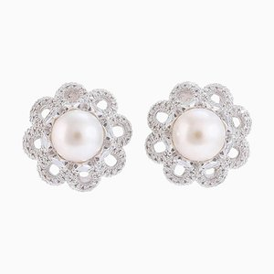 Handcrafted Diamond, Pearl & White Gold Earrings, Set of 2