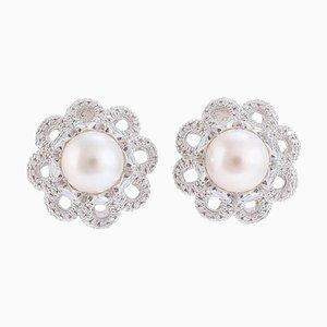 Orecchini fatti a mano con diamanti, perle e oro bianco, set di 2