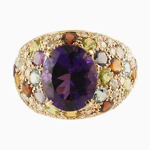 Handcrafted Ring with Diamond, Amethyst, Peridot, Orange & Light Blue Topaz, Iolite, Garnet & 18K Rose Gold